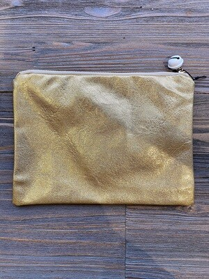 10 x 7 Gold Fabric Pouch With Jingle Bell