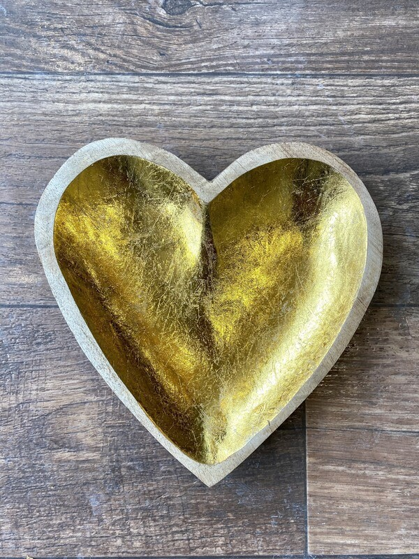 Mango Wood Heart With Gold