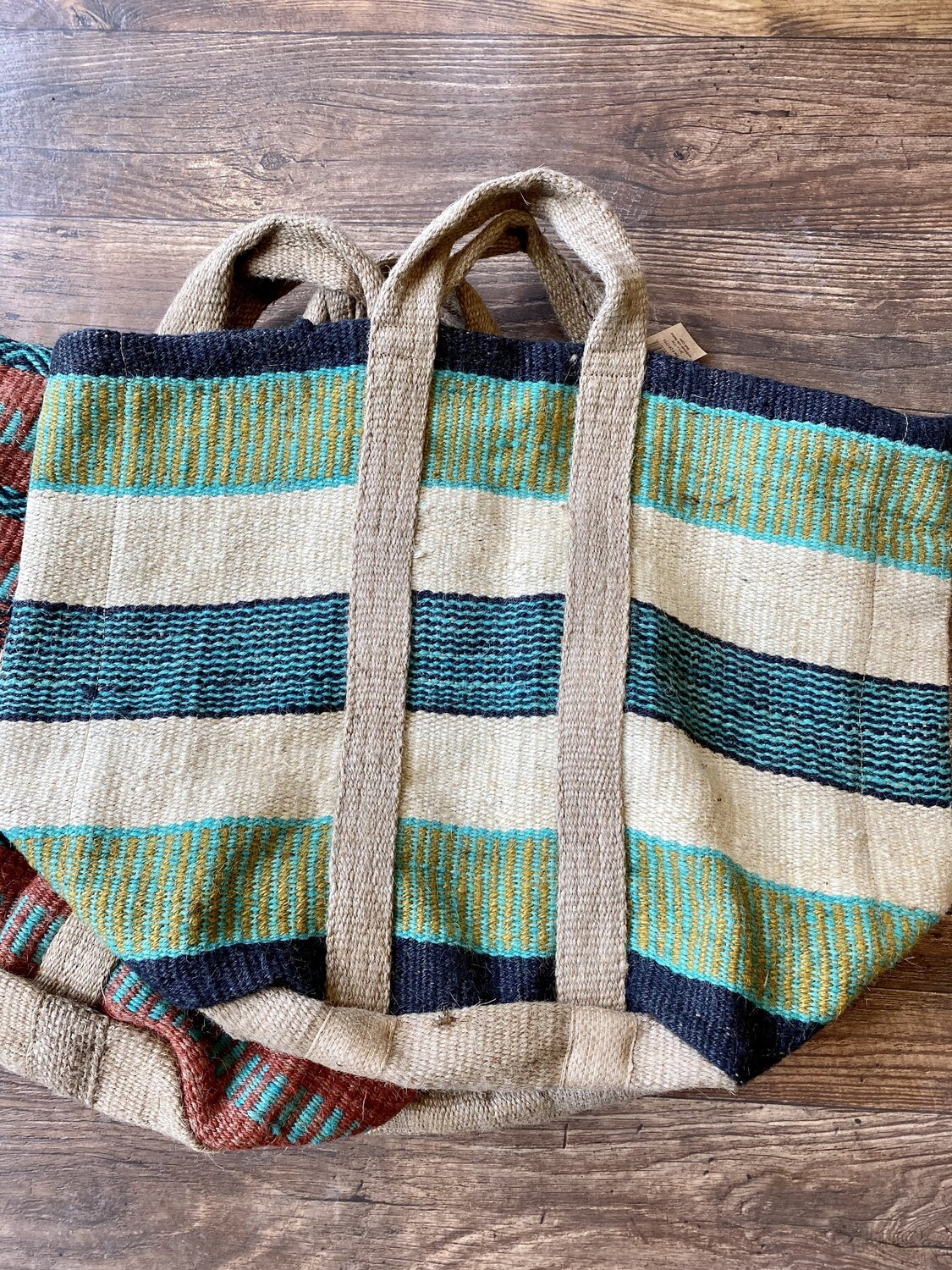 Green Jute Tote With Handles