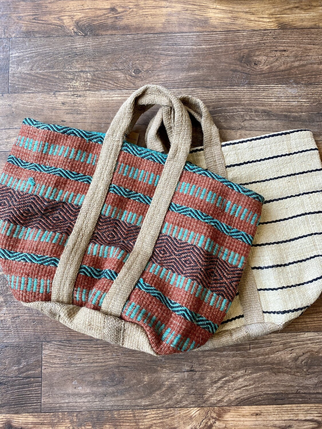 Multi Jute Tote With Handles