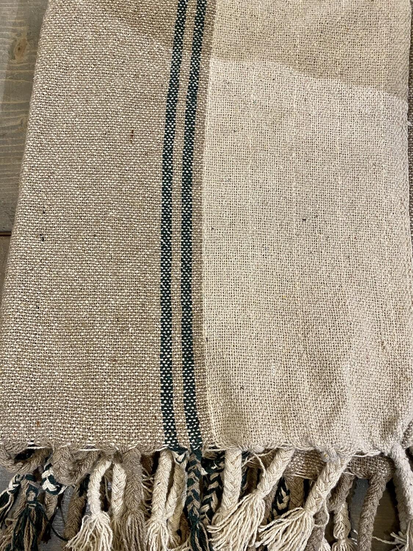 Natural Green Stripe Cotton Blend Throw