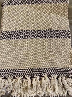 Chocolate Beige Striped Cotton Blend Throw