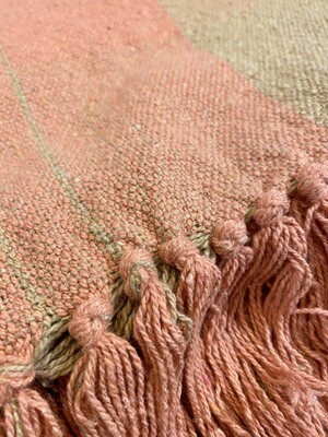 Woven Recycled Cotton Blend Pink Tan Plaid Throw