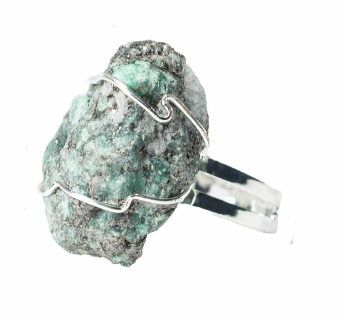 Rough Emerald Ring Silver Adj
