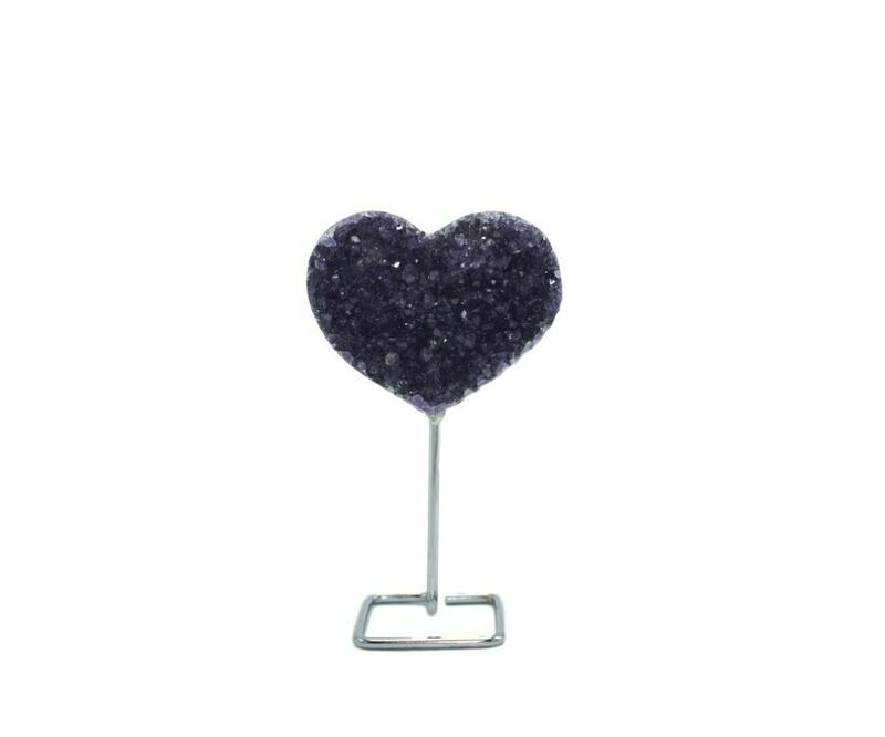 Amethyst Heart on Wire Stand