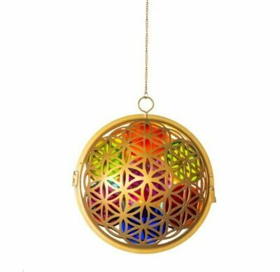 Glass Flower of Life Chakra Lantern