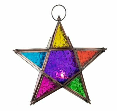 Glass Hanging 5 Point Star Multi Color