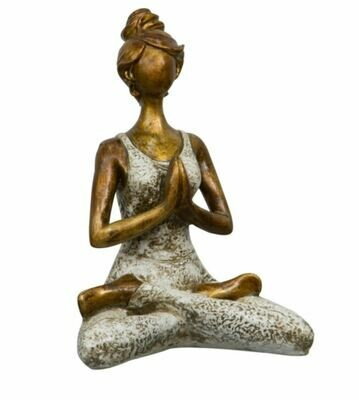 Resin Statue Yoga Lady - White