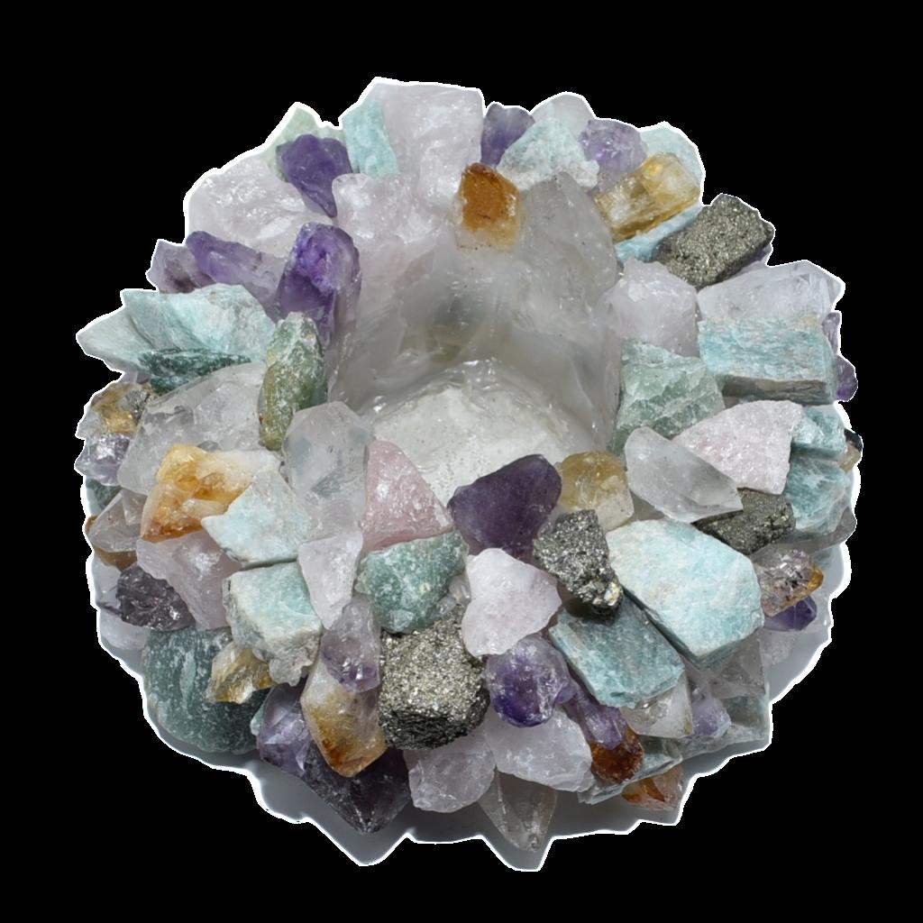 Natural mixed stones votive holder