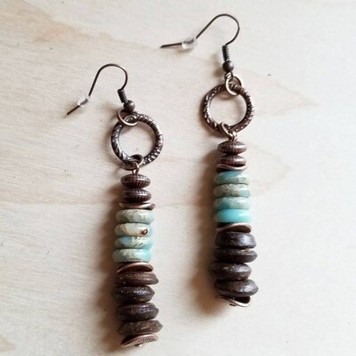 Aqua Terra and Wood Earrings