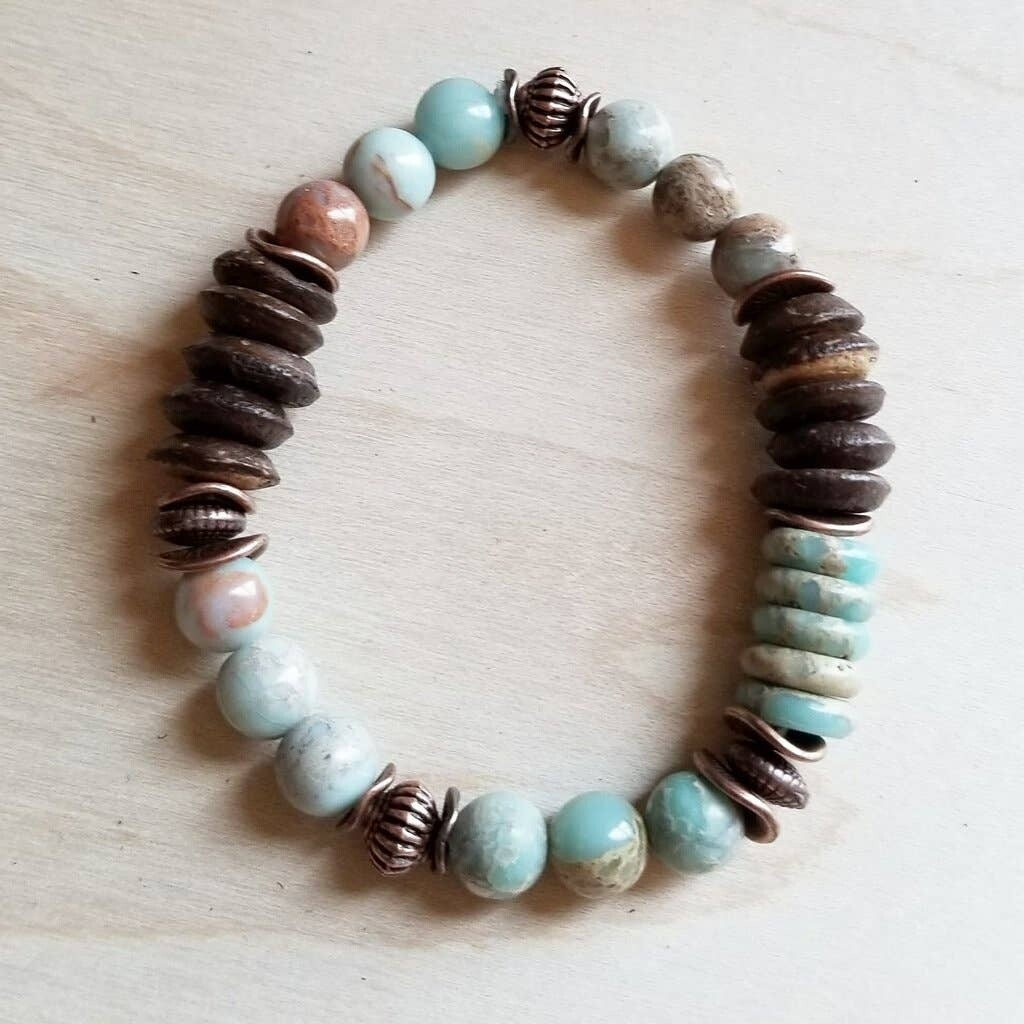 Aqua Terra and Wood Bohemian Bracelet