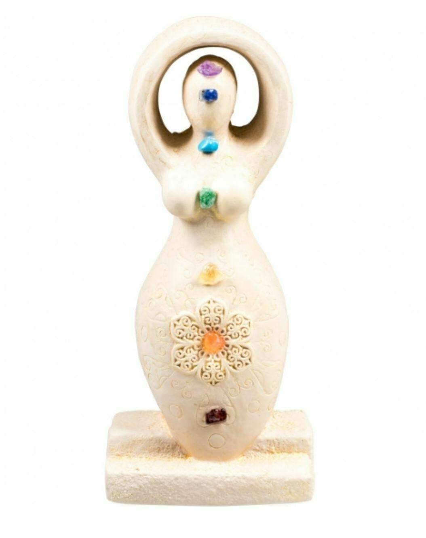 Gypsum Cement Chakra Goddess Figurine