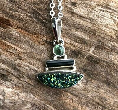 Green Tourmaline and Kyanite Druzy Pendant Necklace