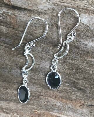 Lolite Crescent Moon Sterling Silver Earrings