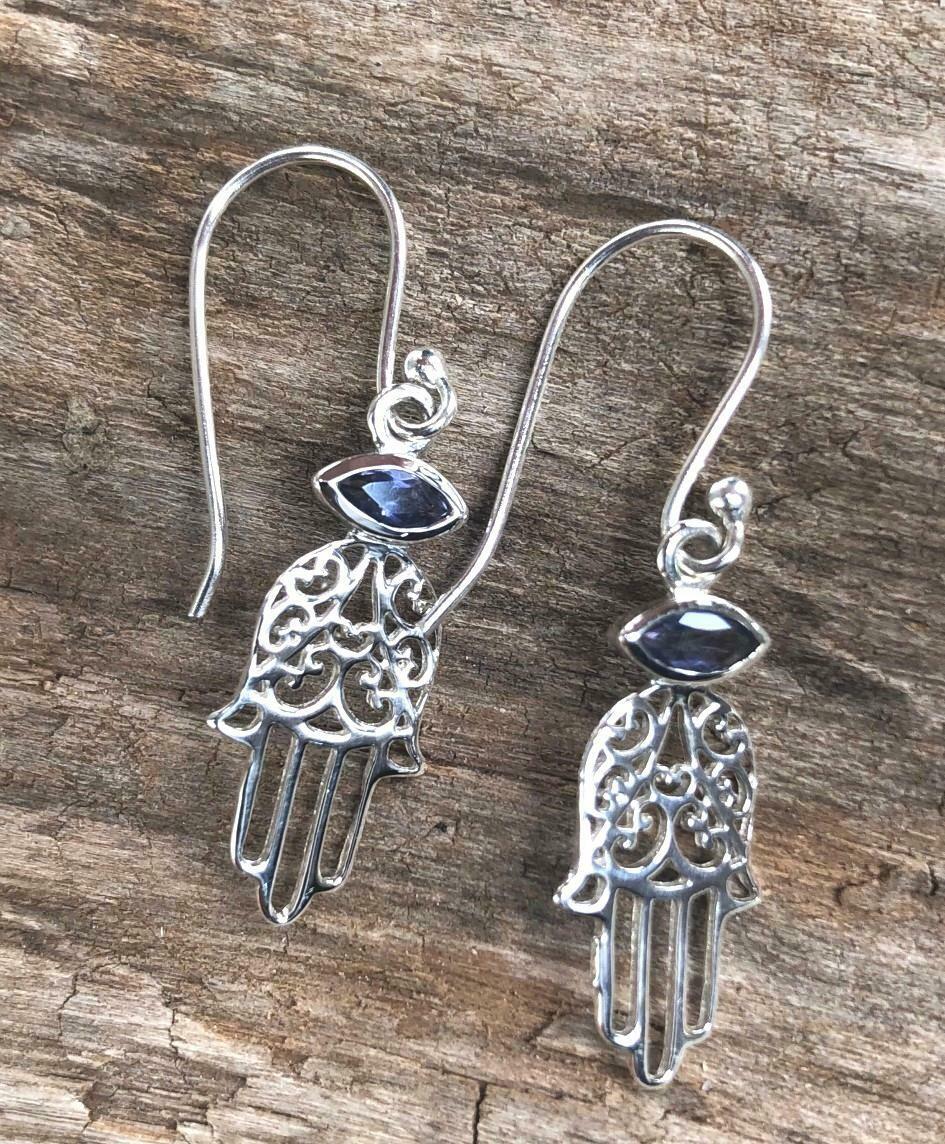 Lolite Healing Hamsa Sterling Silver Earrings