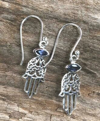 Lolite Healing Hamsa Sterling Silver Earrings