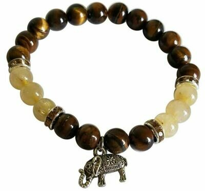 Tigers Eye with Rutilated Quartz Elephant Charm Bracelet 8 mm