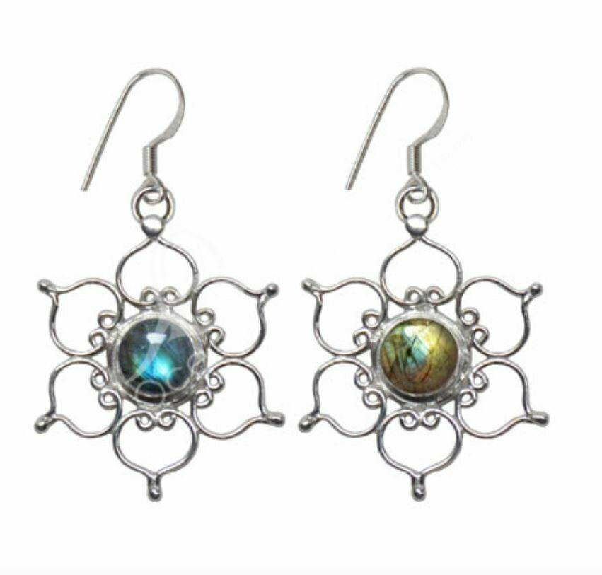 Laboradite Lotus Earrings Sterling Silver
