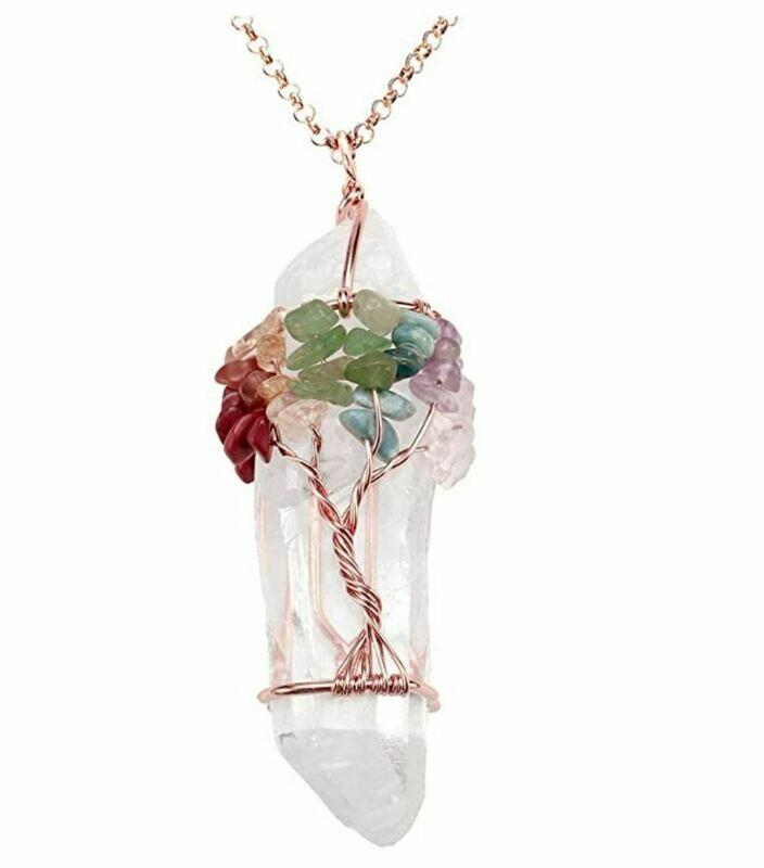 Tree of Life Quartz Rose Quartz Pendant Necklace
