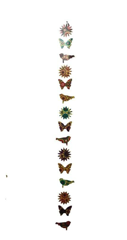 Suzani Print Mixed Paper Garland Butterflies, Suns and Birds 64