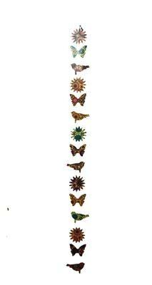 Suzani Print Mixed Paper Garland Butterflies, Suns and Birds 64