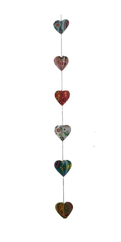 Center Stitched Heart Paper Garland 42