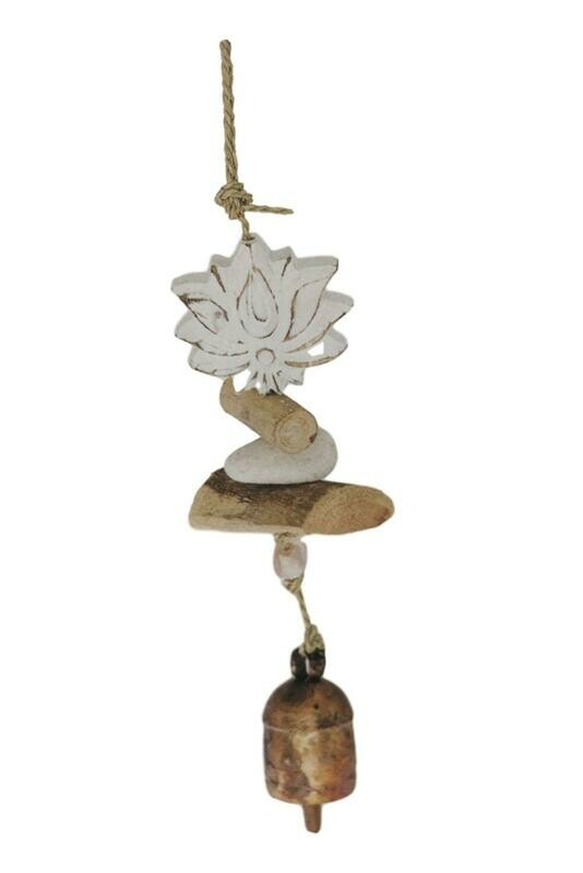Carved Driftwood Lotus Flower Nana Bell Wind Chime 15