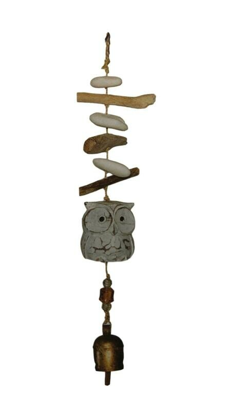 Driftwood Carved Owl Nana Bell Wind Chimes 15