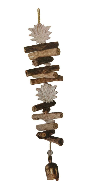 Driftwood Carved Double Lotus Flower Nana Bell Windchime 24