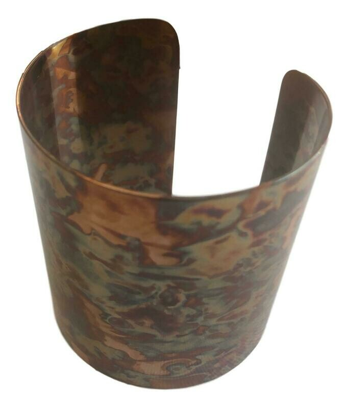 Rainbow Copper Wide Cuff Bracelet