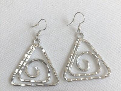 Silver Spiral Triangle Dangle Earrings