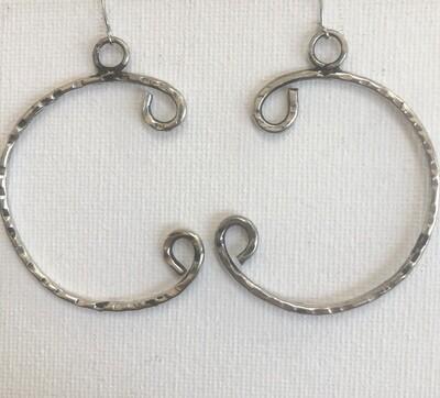 Silver Half Circle Hoop Earrings