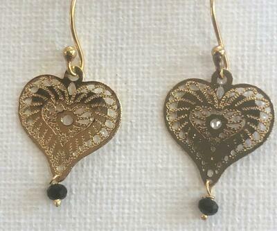 Gold Sculpted Heart Dangle Earrings