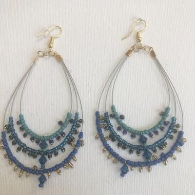Triple Hoop Design Seed Bead Tribal Earrings