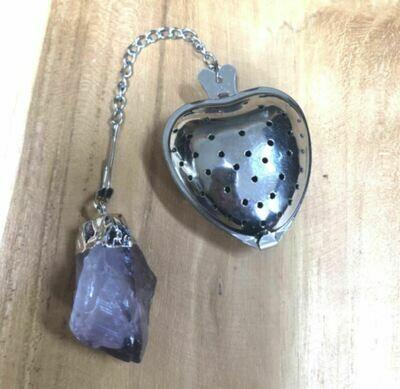 Amethyst Quartz Crystal Heart Shaped Tea Infuser