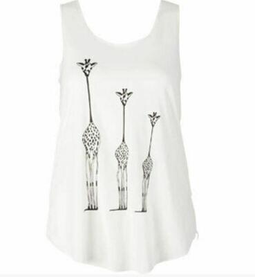 Three Giraffes Ivory Tank Top