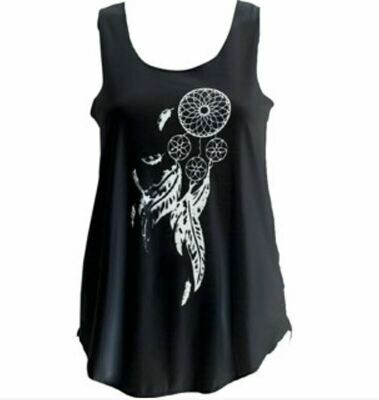 Dreamcatcher with Feather Print Black Tank Top