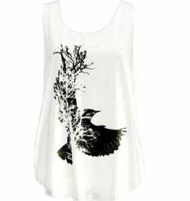 Dove in a Tree Print Ivory Tank Top