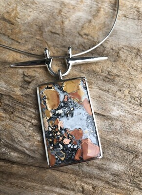 Sacred Axis Crazy Lace Agate Pendant Necklace