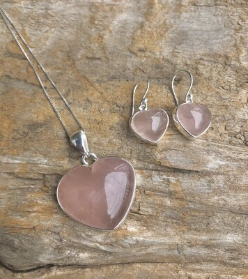 Rose Quartz Heart Shaped Sterling Necklace and Earring Set