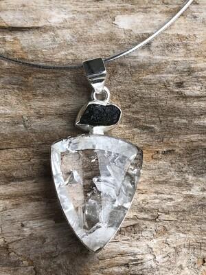 Clear Quartz Manifesting Crystal Pendant with Black Tourmaline