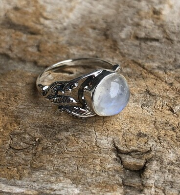 Flashy Rainbow Moonstone Ring Sterling Silver