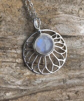 Flashy Rainbow Moonstone Flower of The Goddess Pendant  Necklace