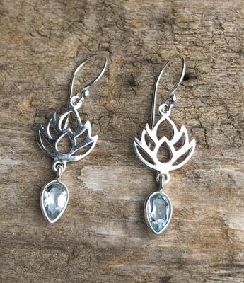 Aquamarine Lotus Flower Sterling Silver Earrings