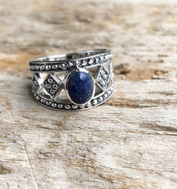 Lapis Lazuli Goddess Crown Ring Size 7