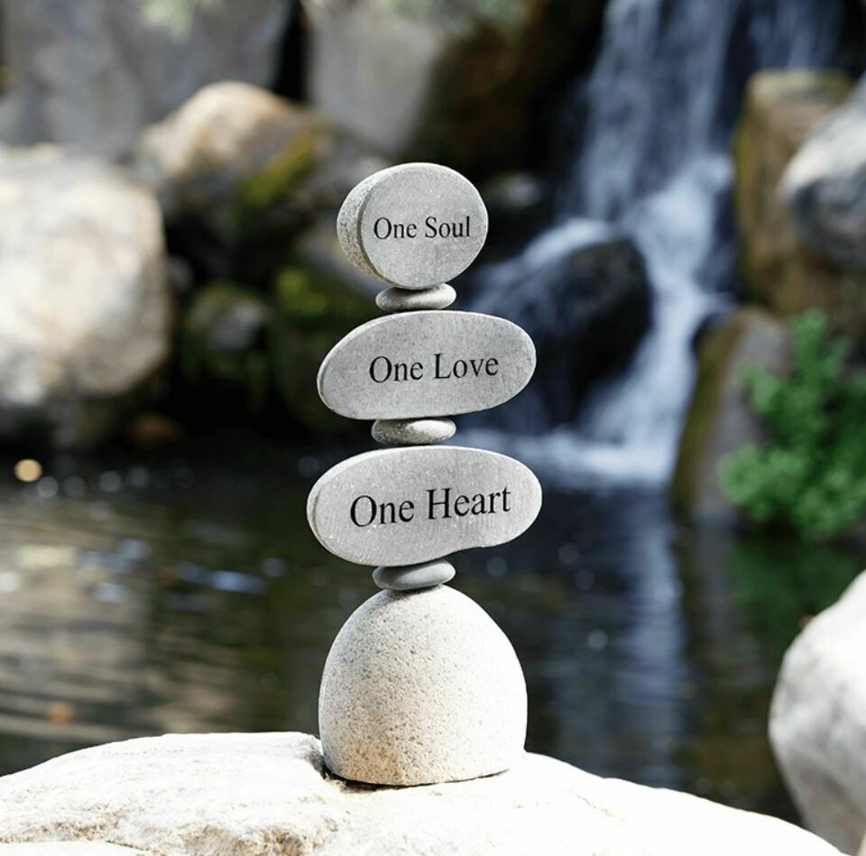 One soul, One Love Engraved River Rock Cairn 12