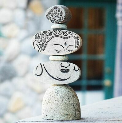 Face of Buddha River Rock Cairn 12
