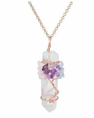 Tree of Life Quartz Amethyst Pendant Necklace