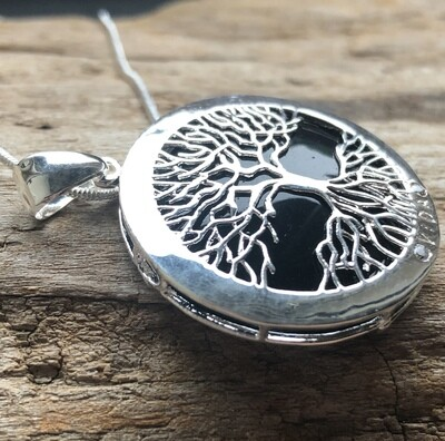 Tree of Life Natural Black Onyx Pendant Necklace