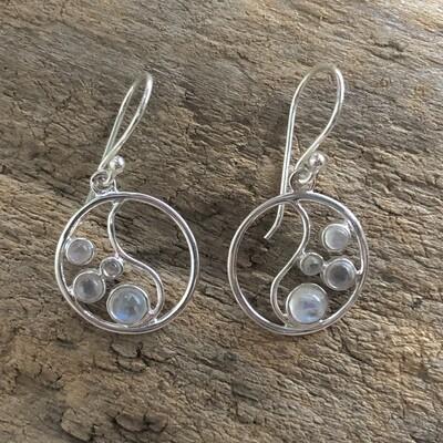 Sterling Silver Moonstone Inner Circle Dangle Earrings